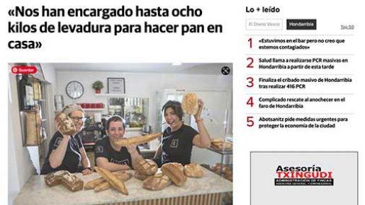 Aparición en prensa Diario Vasco GARUA obrador Hondarribia